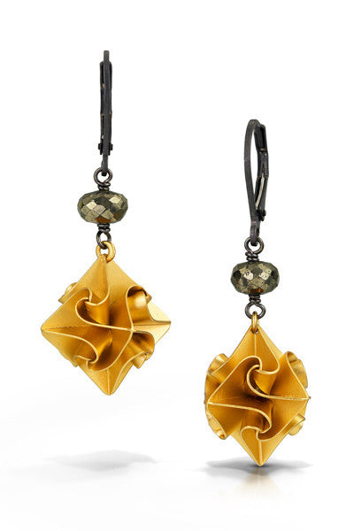 stardust earrings with one stone - gold