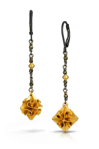 stardust dangle earrings - gold