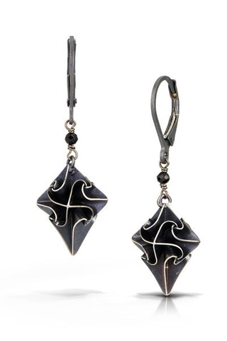 stardust earrings with one stone - black