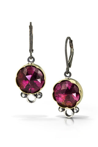 Tourmaline earrings - Deep pink - 18k gold, oxidized sterling silver