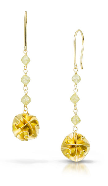 18k flora earrings with yellow diamond - long