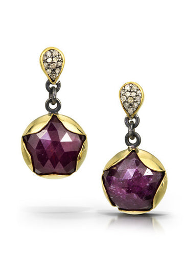 Ruby with Pave diamond earrings - Deep pink - 22k gold, oxidized sterling silver