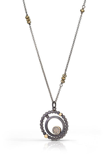 pave diamond pendant with 14k accent - 8mm