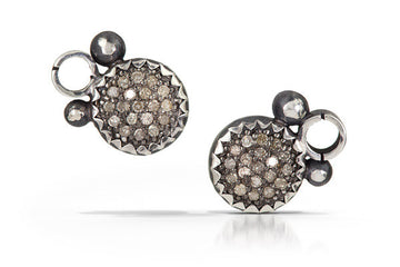 pave diamond earrings - stud 8mm