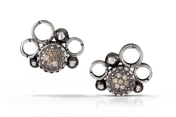 pave diamond earrings - stud 6mm