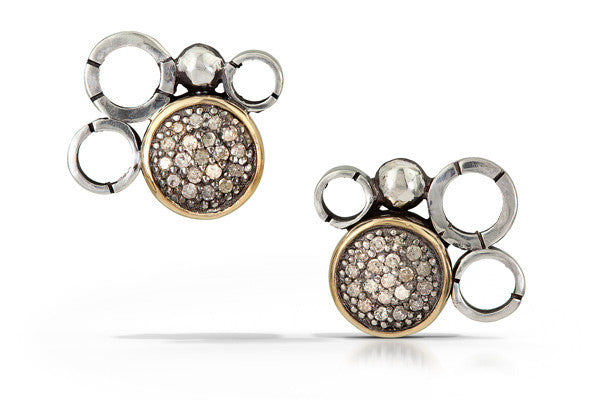 pave diamond earrings with 14k accent - stud 10mm