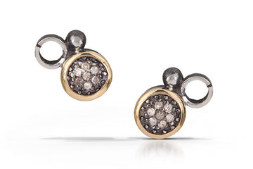 pave diamond earrings with 14k accent - stud 6mm