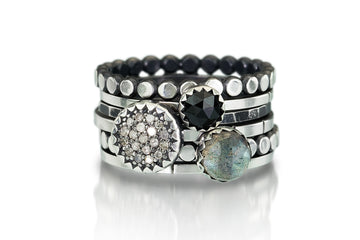 pave diamond stacking rings - 8mm pave, labradorite and onyx
