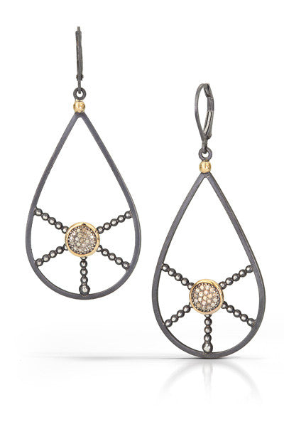 pave diamond earrings with 14k accent- drop Group B