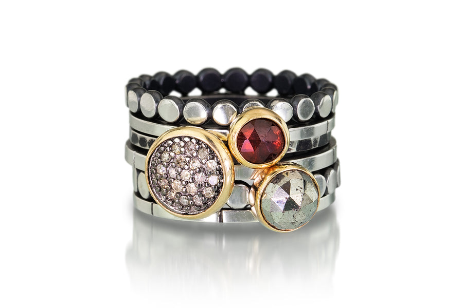 pave diamond stacking rings - 14k bezels 8mm pave, pyrite and garnet