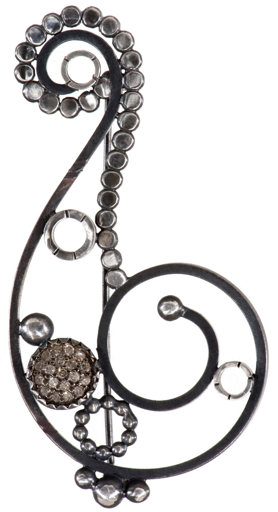 pave diamond brooch - spiral