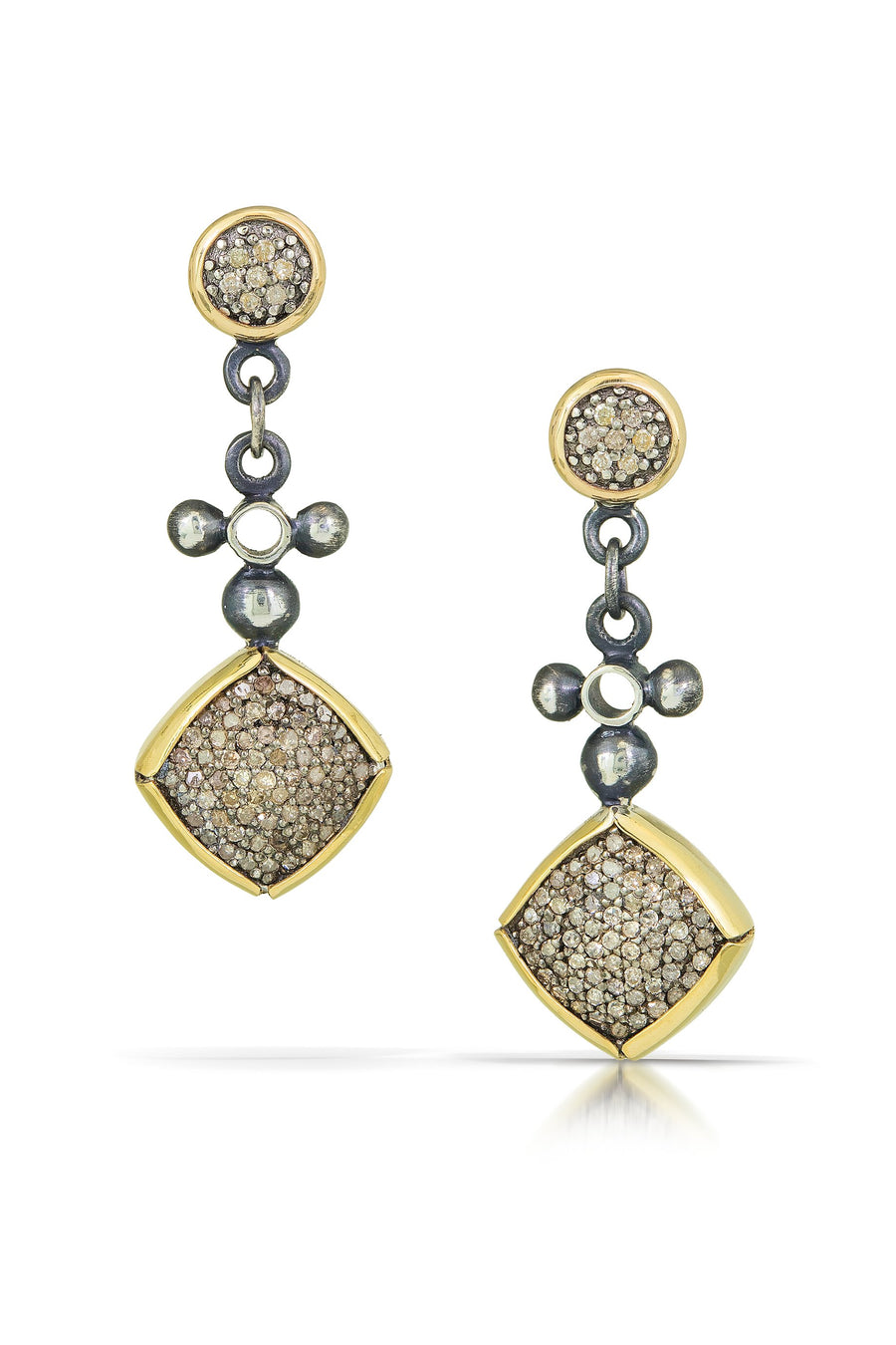 pave diamond earrings with 14k accent - 6mm stud with square