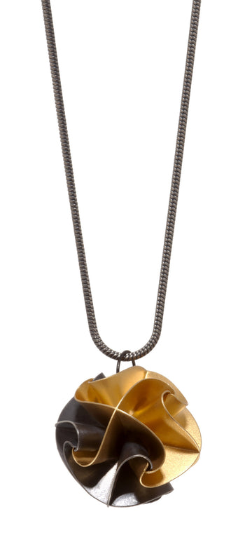 Overstock flora pendant - ox/gold on snake chain