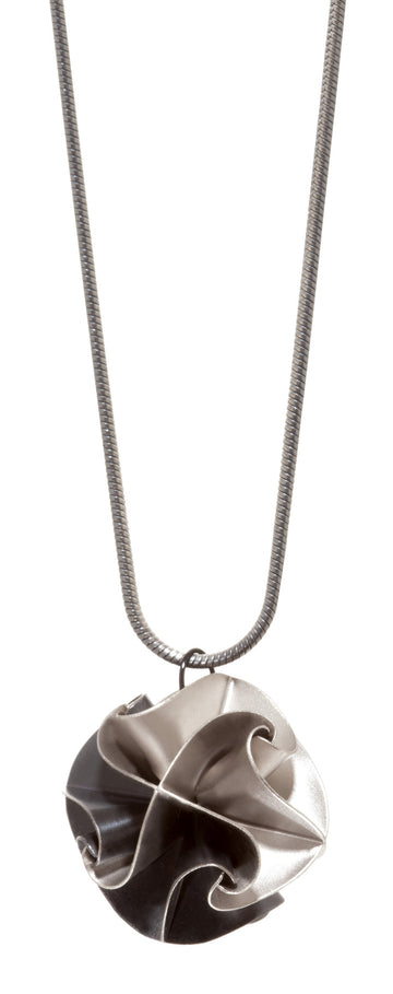 Overstock flora pendant - ox/silver on snake chain
