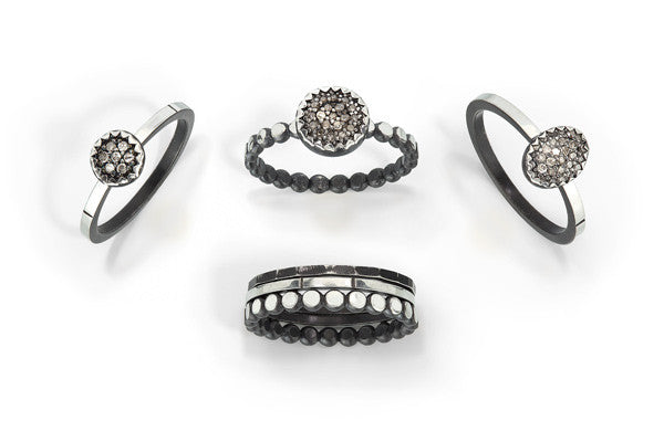 stackable ring - hammered and oxidized