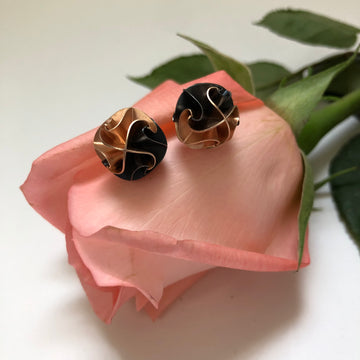 flora post earrings - ox/rose