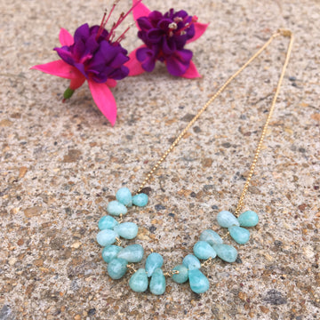 petal necklace - Amazonite briolettes with gold-filled chain