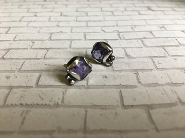 tanzanite post earrings - light purple - oxidized sterling silver