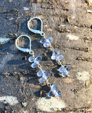 petal drops earrings - light blue sapphire briolettes with sterling silver lever backs