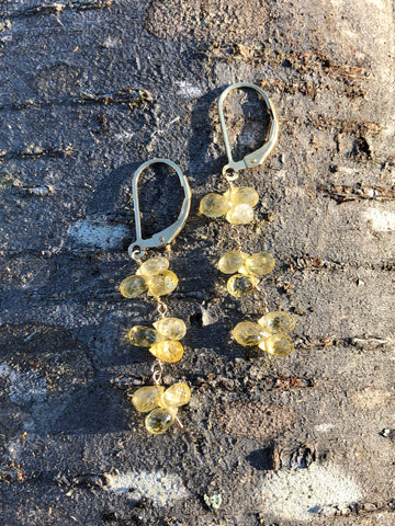 petal drops earrings - light yellow sapphire briolettes with gold filled lever backs