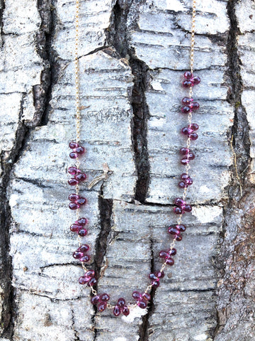 petal necklace - magenta garnet briolettes with gold-filled chain