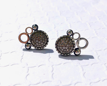 pave diamond earrings - stud 10mm