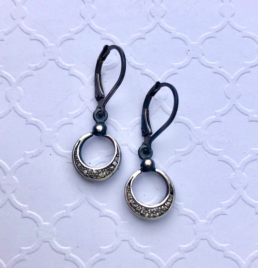 pave diamond earrings - drop Group B crescent