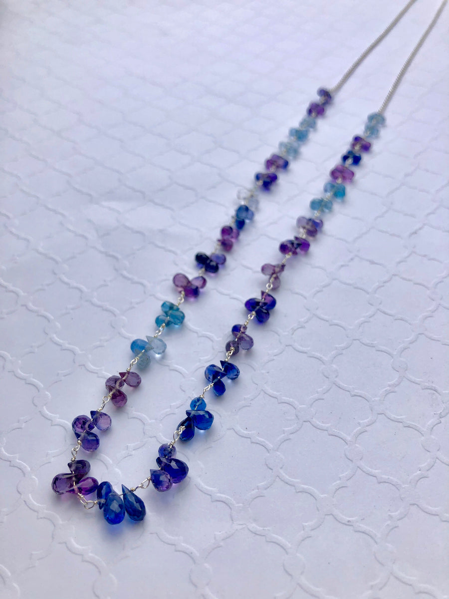 petal necklace - blue and purple sapphire briolettes with sterling silver chain