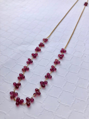 petal necklace - garnet briolettes with gold-filled chain