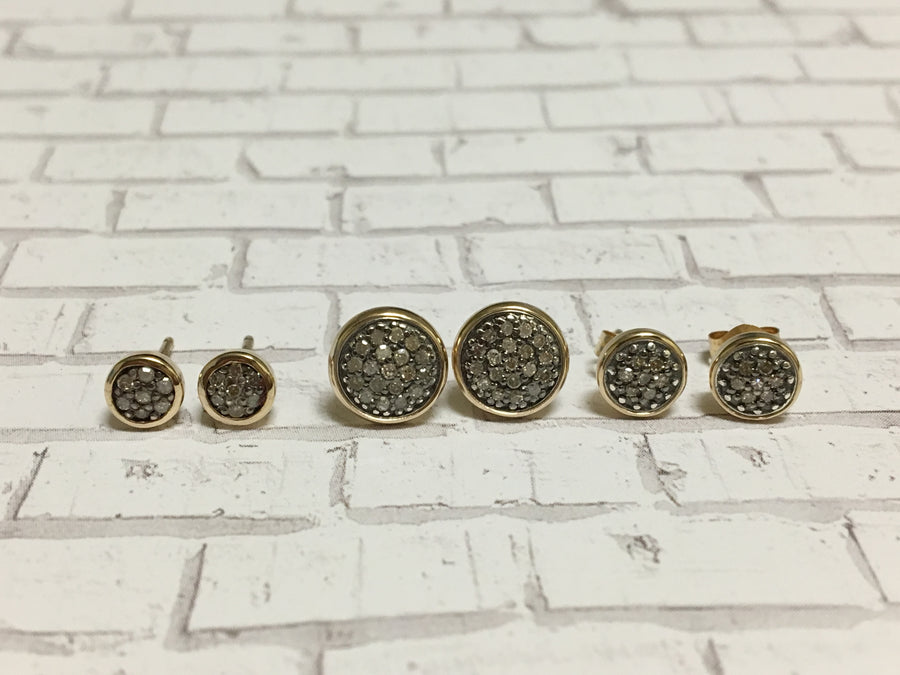 pave diamond earrings in 14k gold