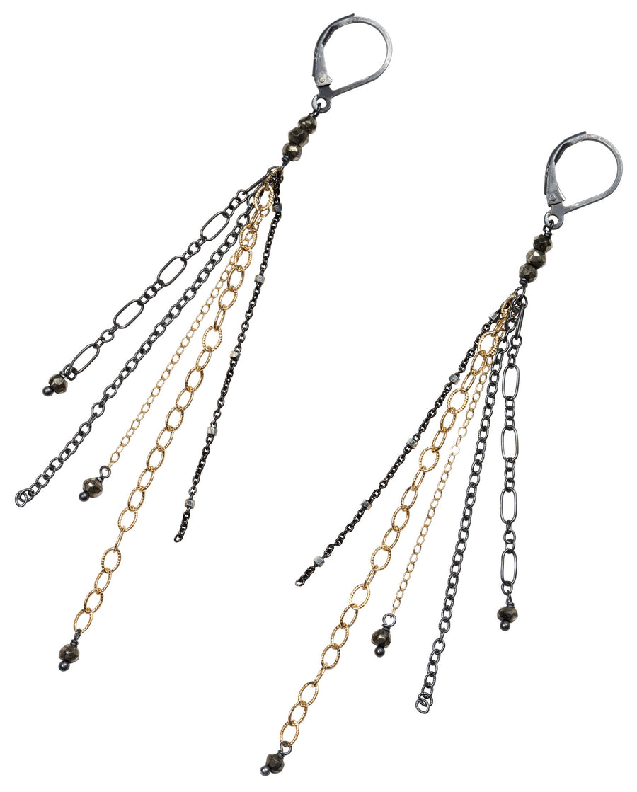 layering chain earrings- oxidized silver and gold filled