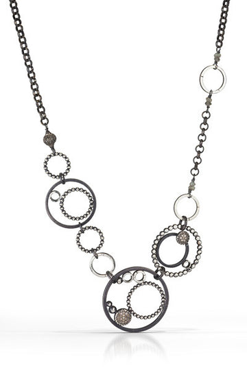 pave diamond necklace - multi circles