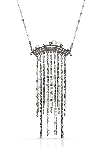 pave diamond necklace - Art Deco
