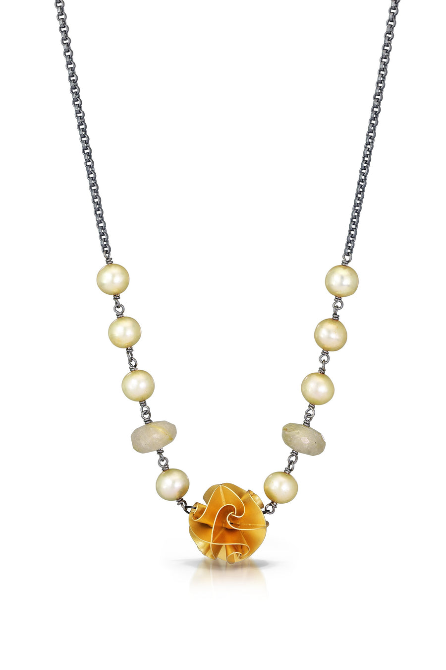 large flora necklace - gold