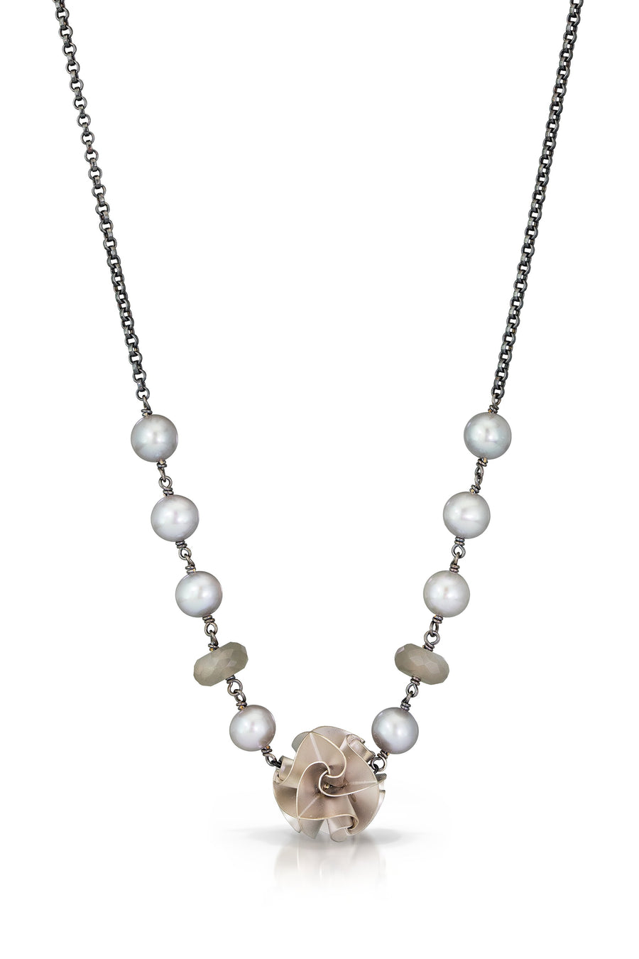 large flora necklace - silver