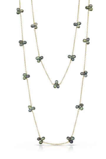 petal necklace - green sapphire with 14k yellow gold chain