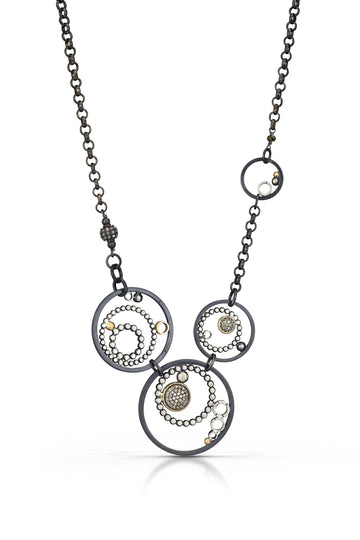 pave diamond pendant with 14k accent - multi circle