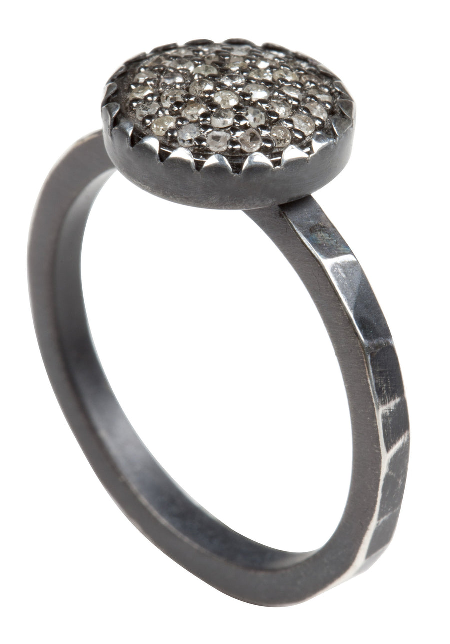 simple pave diamond ring - hammered band 10mm stackable