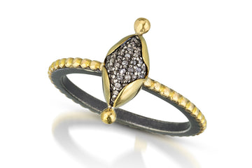 pave diamond ring - marquis with 22k bezel 14k beaded oxidized silver band