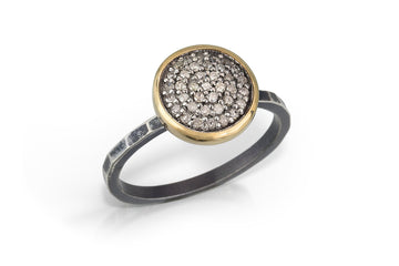 simple pave diamond ring - hammered band 10mm stackable with 14k bezel