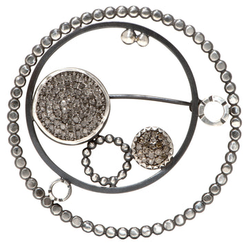 pave diamond brooch - large circle