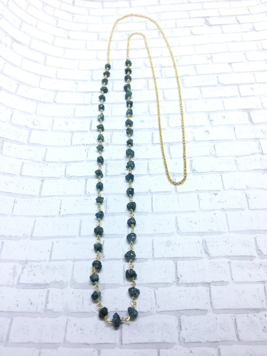 half and half necklace - blue diamond cubes with 18k yellow gold rolo chain