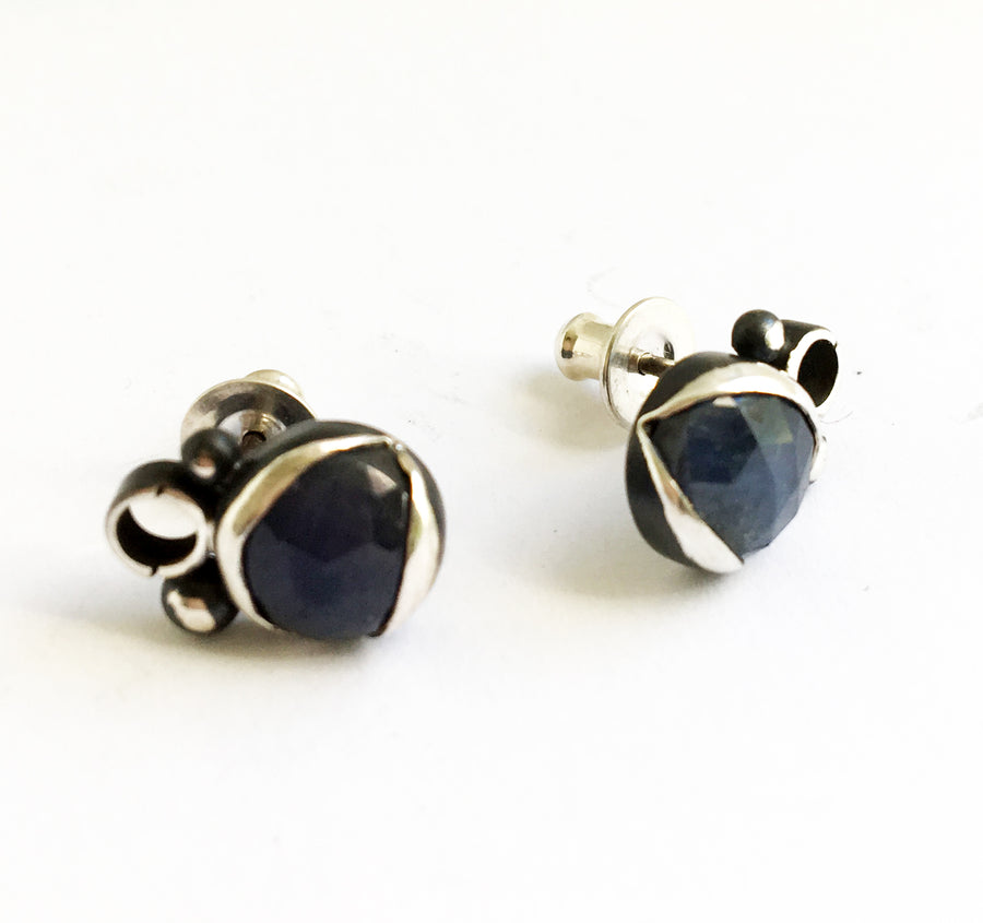 sapphire earrings -blue - posts - oxidized sterling silver