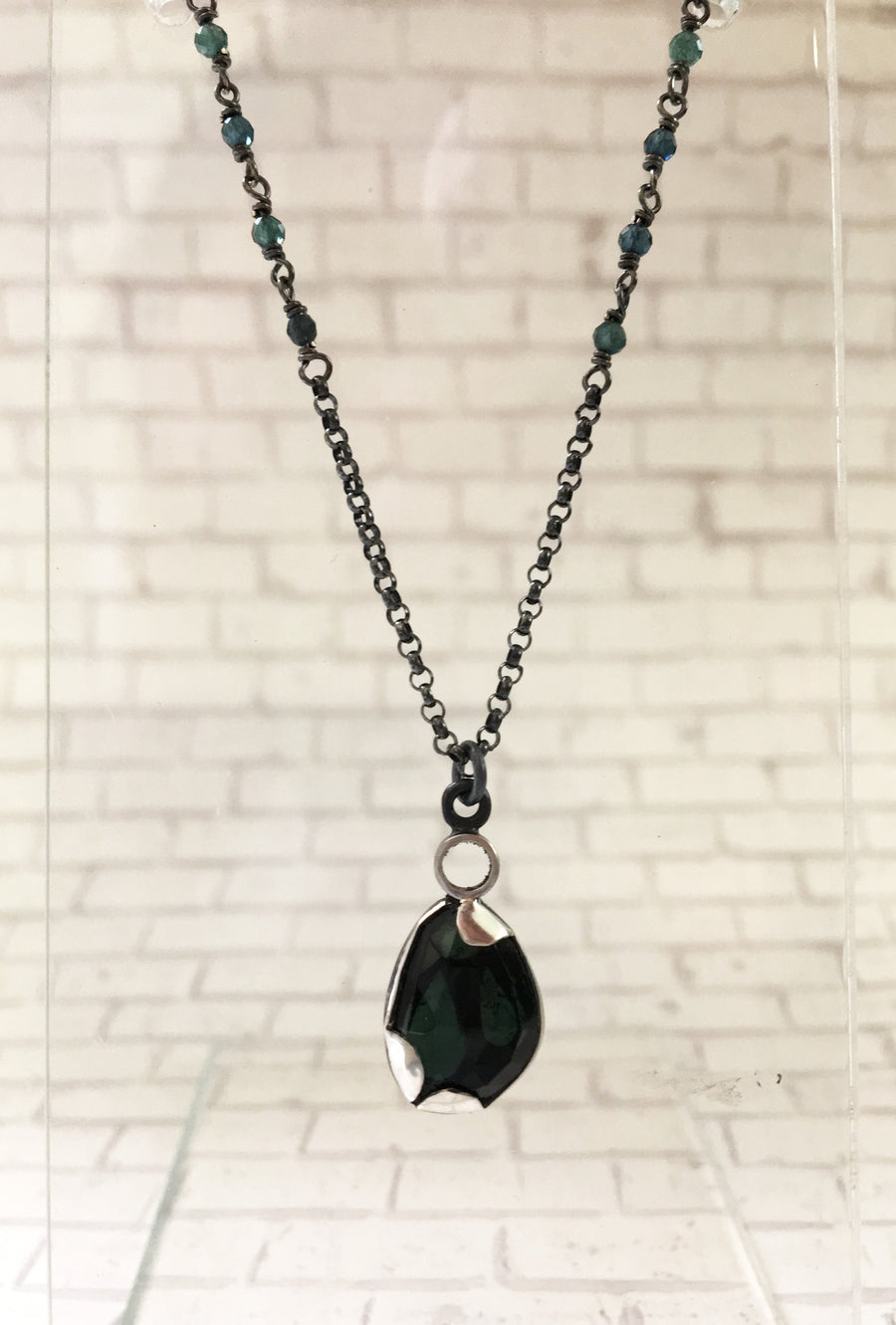 tourmaline necklace - olive blue green - sterling silver