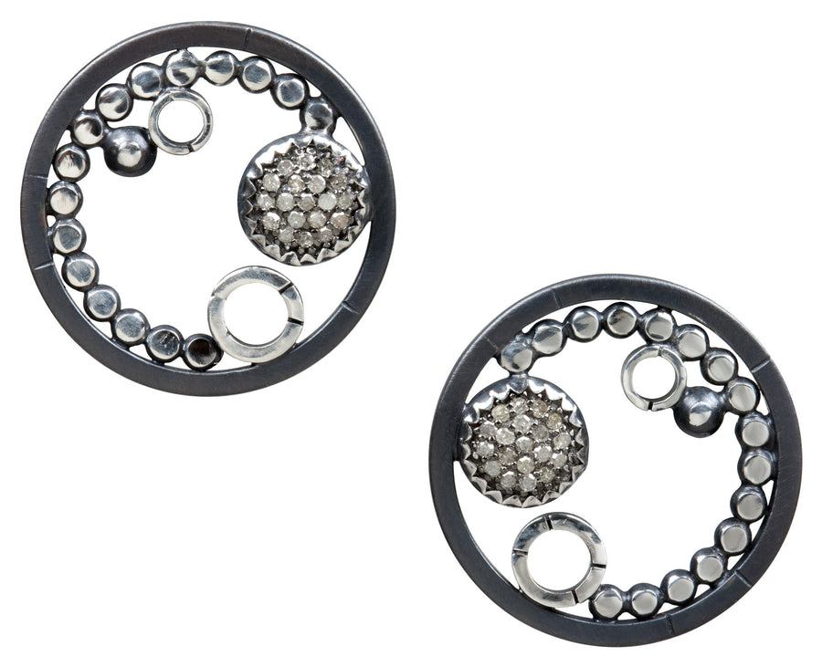 pave diamond earrings - clip on 8mm