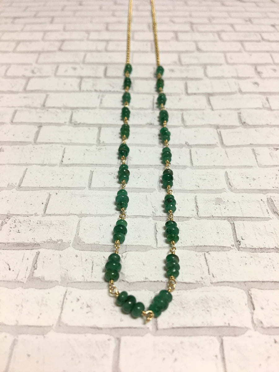 half and half necklace - emerald with gold-filled chain