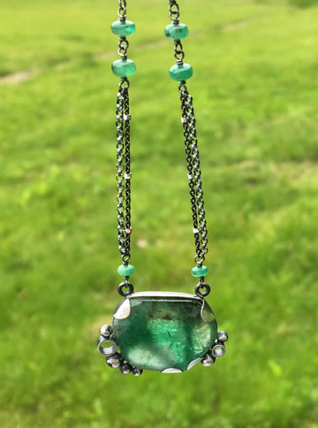 emerald necklace - green - sterling silver