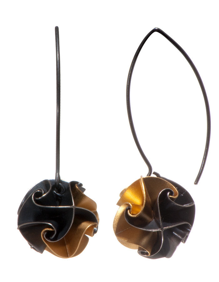 flora drop earrings - ox/gold