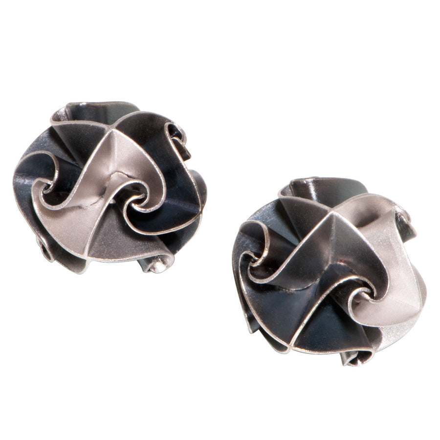 flora post earrings - ox/silver