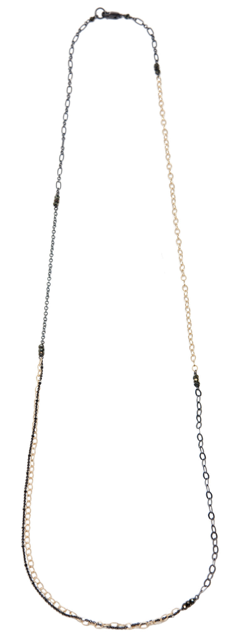 layering chain necklace - oxidized silver and gold filled